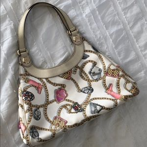 Gucci satin and leather tote satchel w dust bag